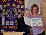 Dotty Scott  is awarded the International President\'s Certificate of Appreciation